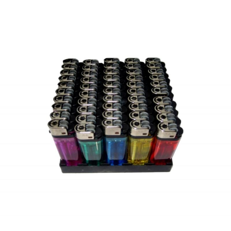 Einwegfeuerzeug Reibrad 5-farbig sortiert, transparent